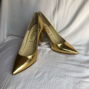 Gold leather heels